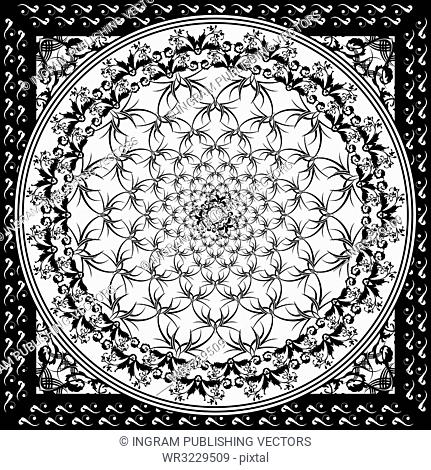 black and white stark seamless repeating gothic tile