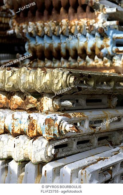 Artist's Choice: Old Radiators for recycling, scrap yard, Montreal, Quebec