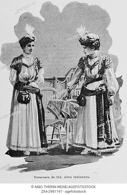 Indian tea waitresses, Women of the Universal Exhibition 1900 in Paris, Picture from the French weekly newspaper l'Illustration, 13th October 1900
