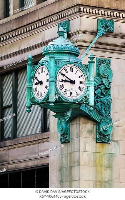 One the many clocks in downtown Chicago, Illinois United States