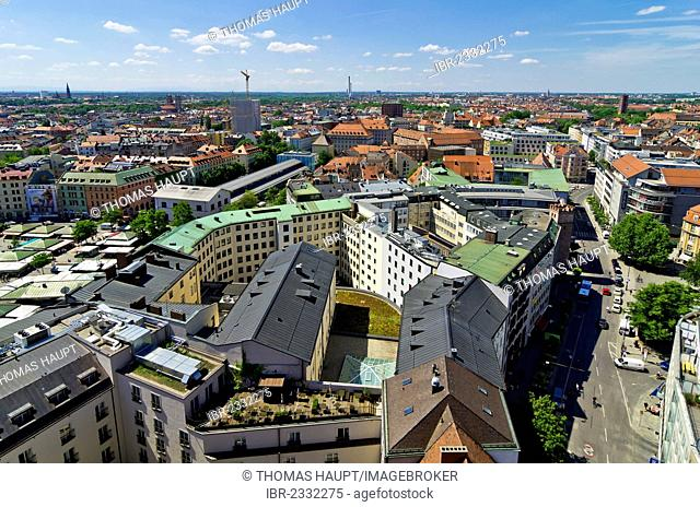 View from St. Peter's Church, Alter Peter, over the roofs of Munich, Upper Bavaria, Bavaria, Germany, Europe