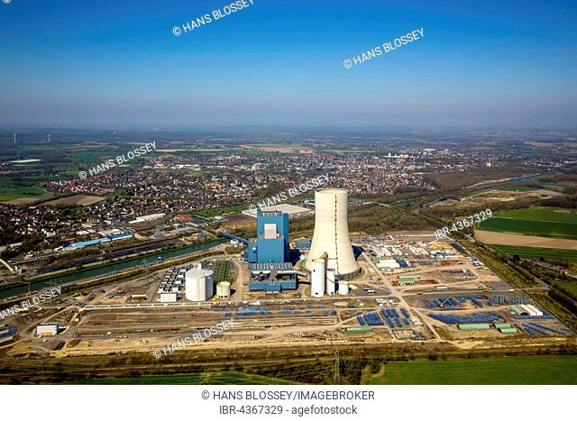 Aerial view, power plant construction EON Datteln 4, construction freeze, Dortmund-Ems Canal, Datteln, Ruhr district, North Rhine-Westphalia, Germany