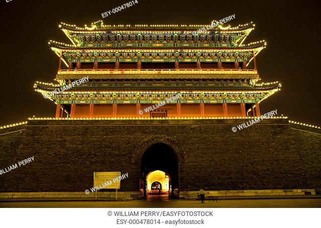 Qianmen Zhengyang Gate Tiananmen Square Beijing, China Night Shot