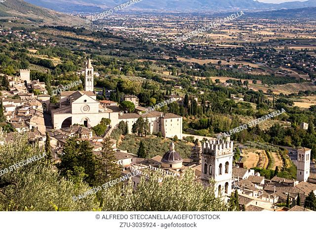 Areal view fo St. Chiara of Assisi Church. The bell tower can be seen from miles away