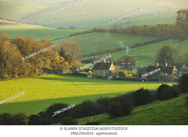 Misty autumn afternoon in South Downs National Park, West Sussex, England