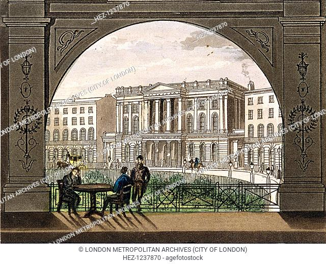 London Institution, Finsbury Circus, c1820. View of the London Institution, seen through an arch, with men talking round a table in the foreground