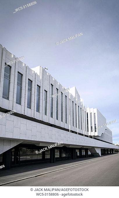 Finlandia Hall landmark building in helsinki city finland by famous finnish architect Alvar Aalto