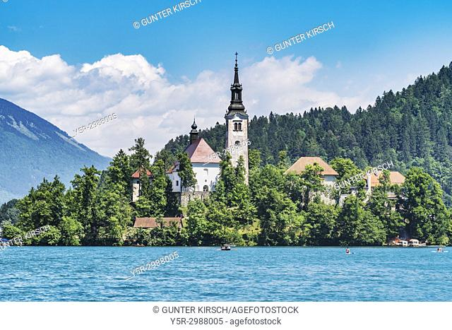 St. Mary's Church is located on a small island in Lake Bled. The Church was built in 1465, Bled, Gorenjska (upper Carniola), Slovenia, Europe