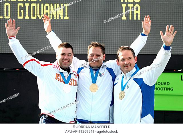 27 04 2012 London, England The winners of the Mens Trap competition Silver medalist Alexey Alipov RUS left, Gold Medalist Fabbrizi Massimo ITA center and Bronze...