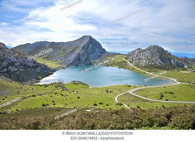 Enol lake at Picos de Europa mountains in Cangas de Onis Asturias