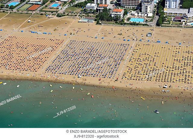 Aerial view of the Bibione beach