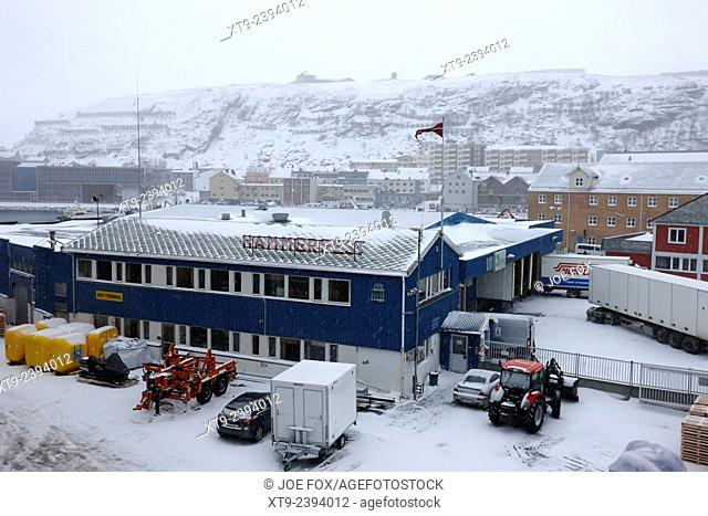 hammerfest port and town centre in winter finnmark norway europe