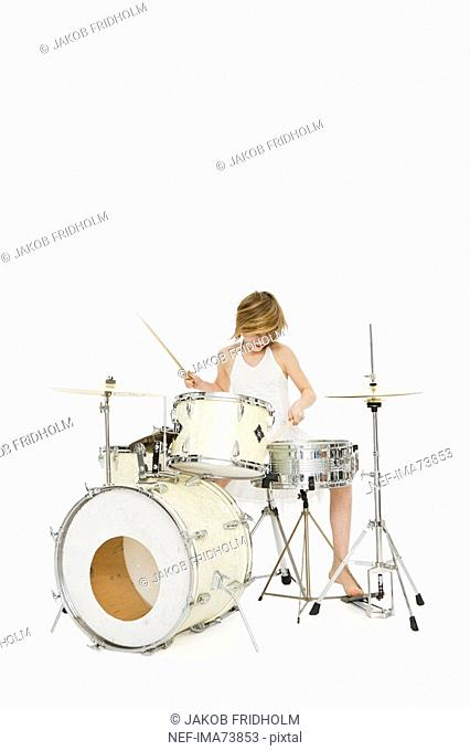 A girl playing music
