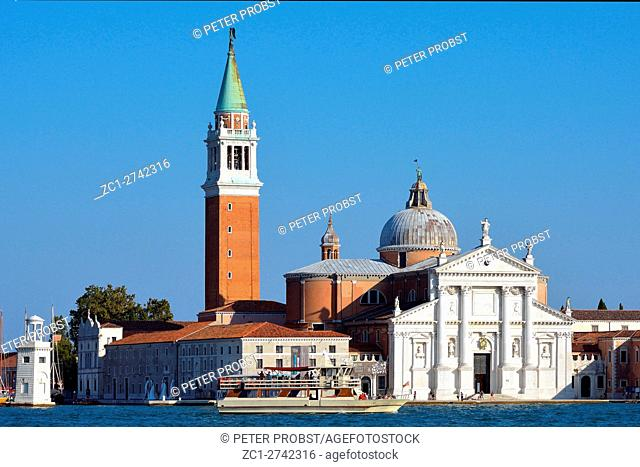 Venice, Veneto, Italy - September 8, 2016: View from San Marco to Island of San Giorgio Maggiore in the Lagoon of Venice in Italy - Caution: For the editorial...