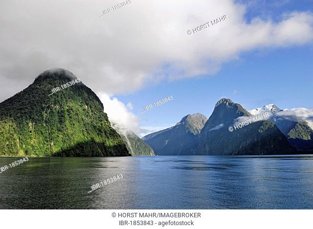 Morning in Milford Sound, Mount Kimberley, right, Fiordland National Park, South Island, New Zealand