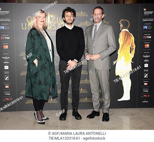 Monsignor Dario Vigano', Lulu Helbek, Barbara Jatta , Pierfrancesco Favino , Marco Balich  during 'Giudizio Universale' photocall, Rome, Italy - 12 Mar 2018