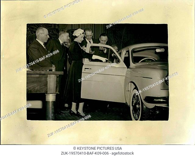 Apr. 10, 1957 - During her visit to the Regie Renault de Flins factory with her husband Prince Philip, Queen Elisabeth admired the 'Dauphine' for a long time