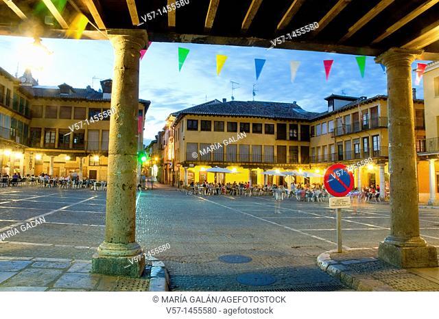 Main Square at night, view from the arcade. Tordesillas, Valladolid province, Castilla León, Spain