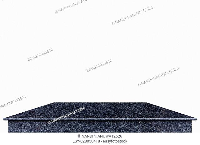 Empty top of natural stone shelves isolated on white background. Saved with clipping path For product display