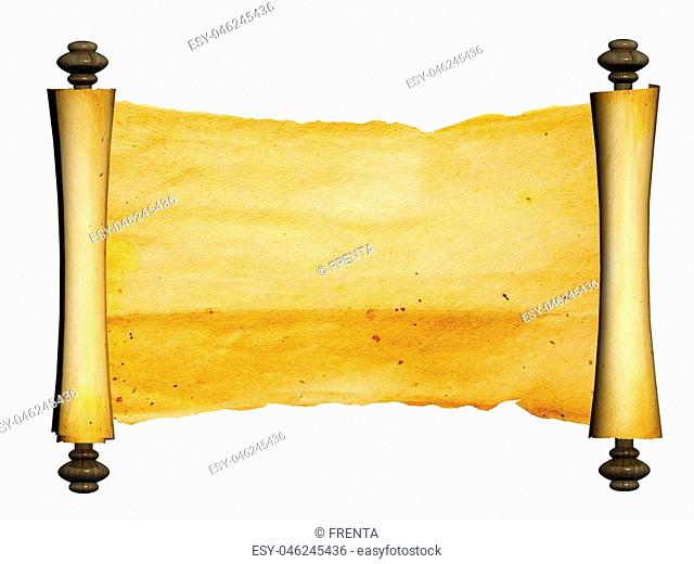 Old parchment. Isolated on white background. Copy space for your text. 3d render