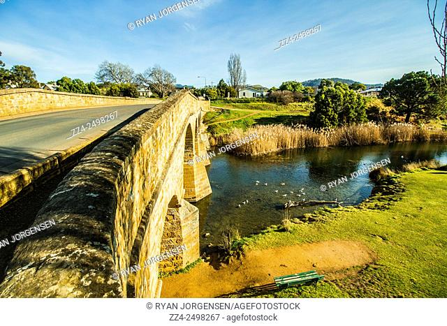 Horizontal landscape scene of the heritage listed and oldest built convict construction in Australia, Richmond Bridge, Tasmania