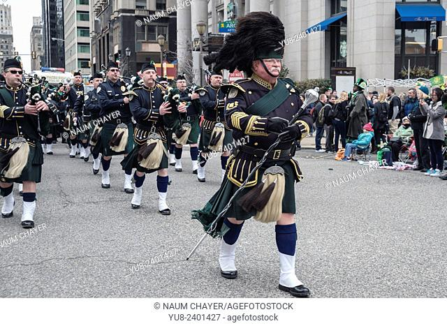 Leading musician marching in front of orchestra, St. Patrick's Day Parade, Philadelphia, USA
