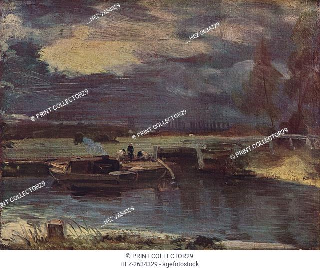 'Barges on the Stour, with Dedham Church in the distance', c1811. Artist: John Constable