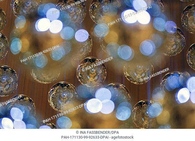 Christmas decorations can be seen at the Christmas market in Dortmund, Germany, 30 November 2017. Photo: Ina Fassbender/dpa