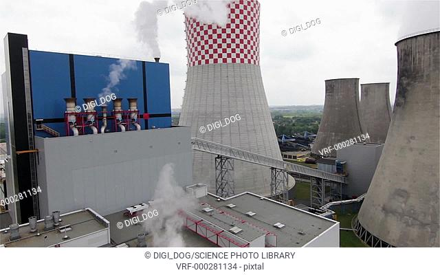 Aerial footage of an electricity power station, Jaworzno, Poland