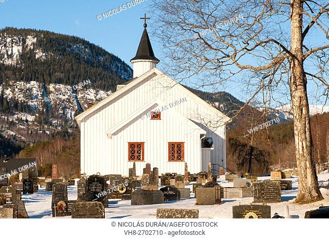 Church and cemetery in Atra. Tinnsja lake. Norway