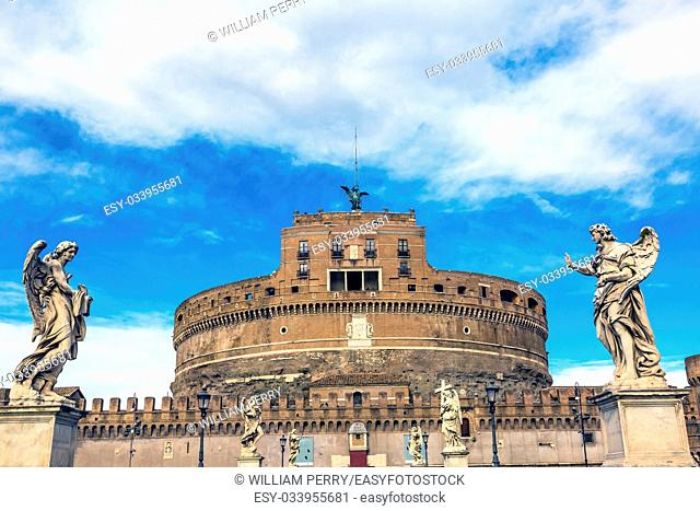 Castel Sant Angelo Vatican Castle Bernini Angels Ponte Bridge Sant Angelo Rome Italy. Castle was built in 1277 on top of Hadrian's tomb