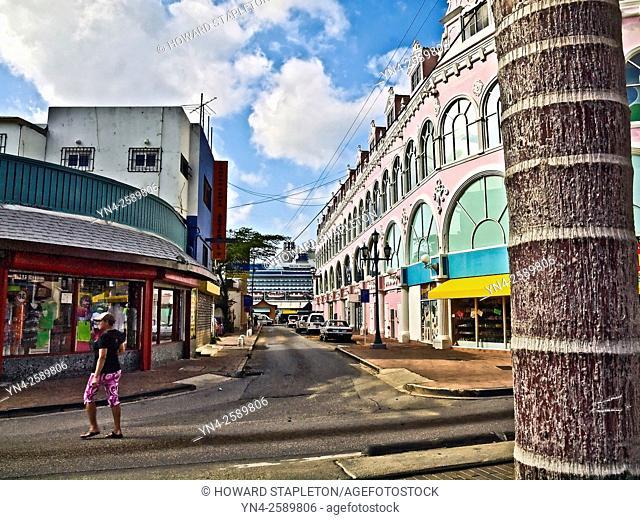 Narrow shopping street in Oranjestad, Aruba a few blocks from the wharf