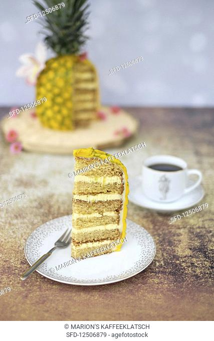 A piece of 3D pineapple cake