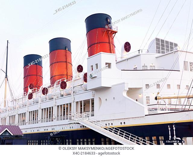 SS Columbia attraction, passenger ship steam liner at American Waterfront, Tokyo Disneysea. Japan