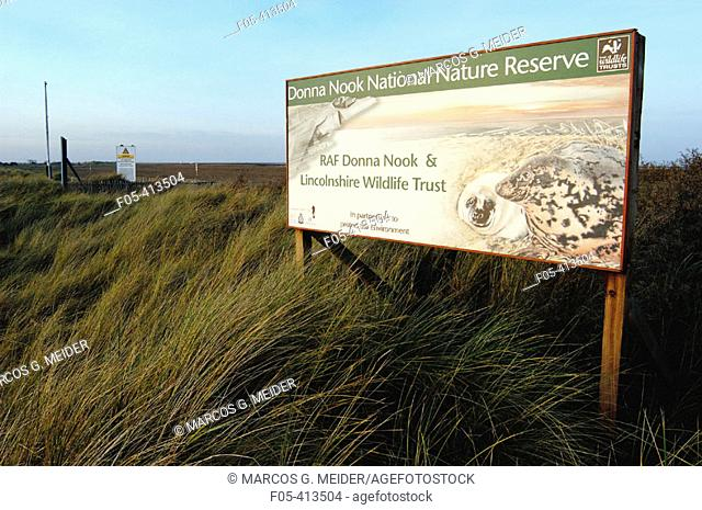 Donna Nook Nature Reserve board at the entrance of this important breeding colony for grey seals (Halichoerus grypus). U.K
