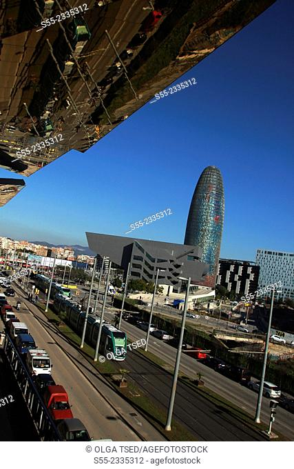 Building Design Hub Barcelona, by MBM architects. Agbar Tower, by Jean Nouvel., Els Encants Market. Barcelona, Catalonia, Spain