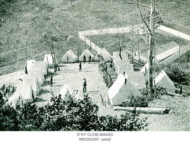 This photo, which dates to approximately 1896, shows the convict stockade and military camp at Oliver Springs, Tennessee