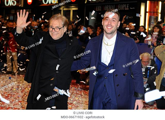Nino D'Angelo and Livio Cori on the Red Carpet of the 69th Sanremo Music Festival. Sanremo (Italy), Fabruary 4th, 2019