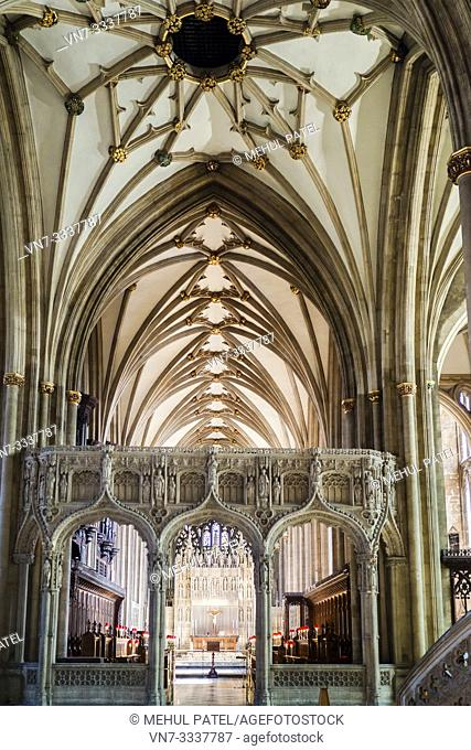Choir screen and high altar inside Bristol Cathedral, Gloucestershire, England, UK