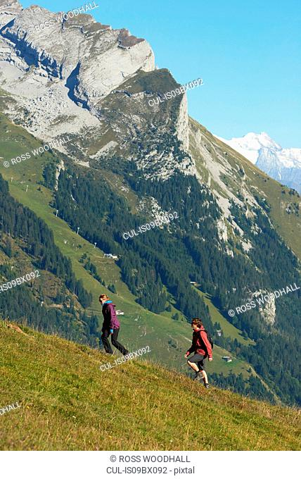 Hikers trekking on hillside, Manigod, Rhone-Alpes, France
