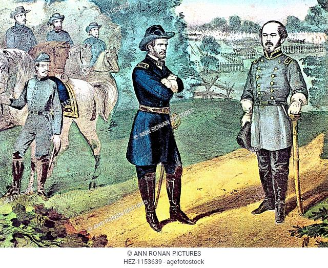 The surrender of Confederate forces in North Carolina, American Civil War, 1865. Union General William Tecumseh Sherman (1820-1891) (left) meeting Confederate...