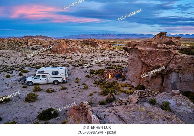 Recreational vehicle, travelling at dusk, Oruro, Oruro, Bolivia, South America