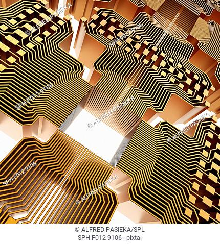 Quantum computer. Conceptual computer artwork of electronic circuitry as part of a quantum computer structure