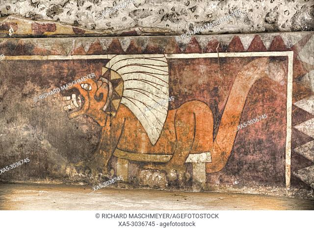 Wall Mural of Jaguar, Palace of Tetitla, Teotihuacan Archaeological Zone, State of Mexico, Mexico