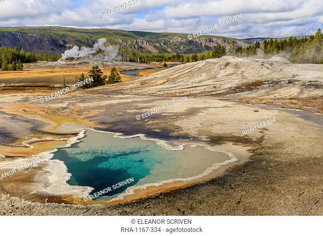 Elevated view of Doublet Pool, Firehole River and Castle Geyser, Upper Geyser Basin, Yellowstone National Park, UNESCO World Heritage Site, Wyoming