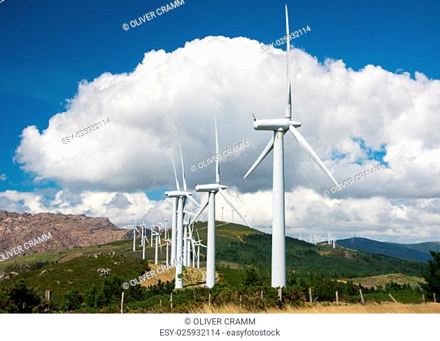 wind turbines for electricity generation in wind farm on hills