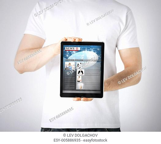 business, technology, internet and news concept - man showing tablet pc with news app
