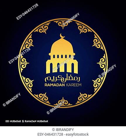 Ramadan Mubarak Creative typography in an Islamic Circular Design on a Blue Background