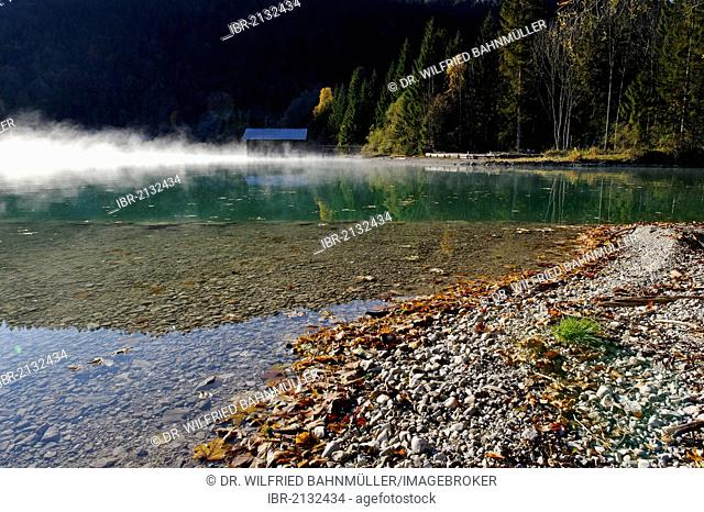 Autumnal morning mood on Lake Walchensee, at Obernach Canal, Upper Bavaria, Bavaria, Germany, Europe