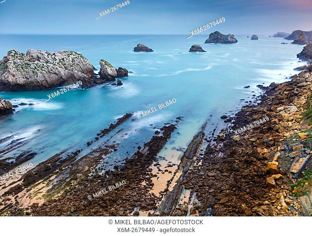 beach and cliff. Somocueva. Costa Quebrada. Cantabria, Spain